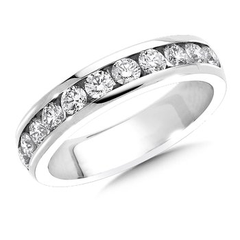 Channel set Round Diamond Wedding Band 14k White Gold (1/3ct. tw.)