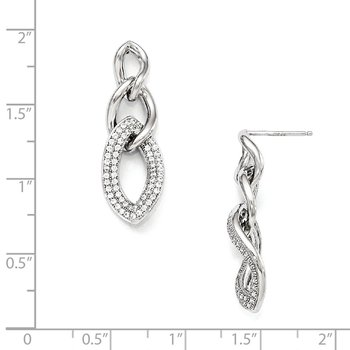 Sterling Silver & CZ Brilliant Embers Polished Dangle Post Earrings