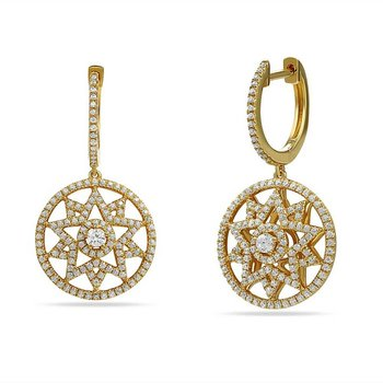 14K star design earring with 260 Diamonds 0.87CT