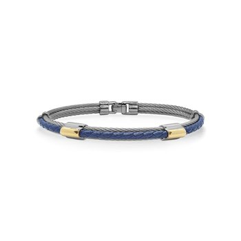 Grey Cable & Blue Leather Bracelet with Dual Yellow 18kt Gold Stations