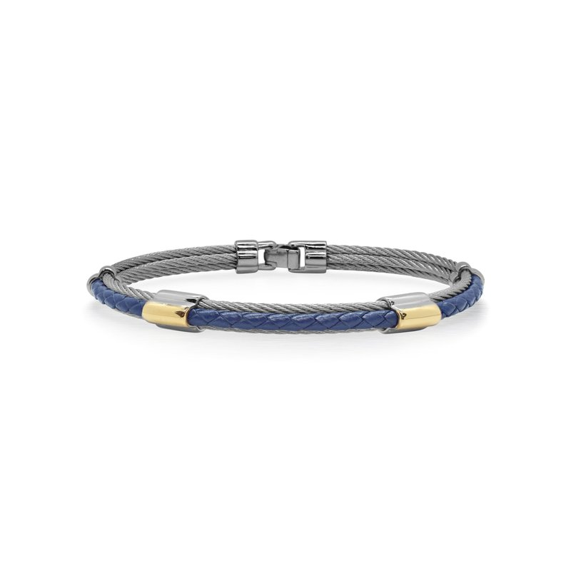 ALOR Grey Cable & Blue Leather Bracelet with Dual Yellow 18kt Gold Stations