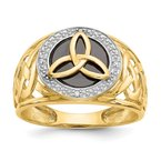 Quality Gold 14K and Rhodium Onyx Diamond Ring