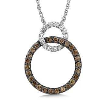 Pave set Cognac and White Diamond Linked Circle Pendant, 14k White Gold  (1/2 ct. dtw.)