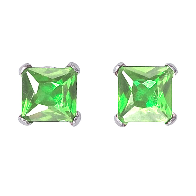 Color Merchants 14k White Gold Square Peridot Stud Earrings