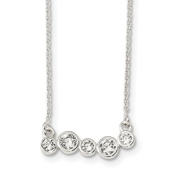 Sterling Silver Polished 5 Bezel Set CZs 16in Bar Necklace