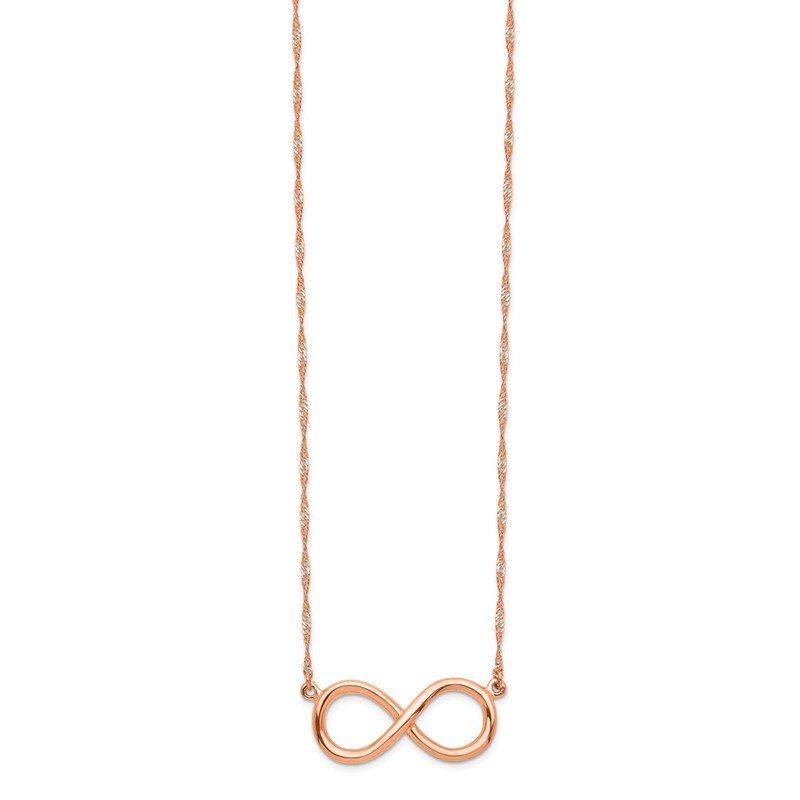 Quality Gold 14K Rose Polished Infinity Necklace