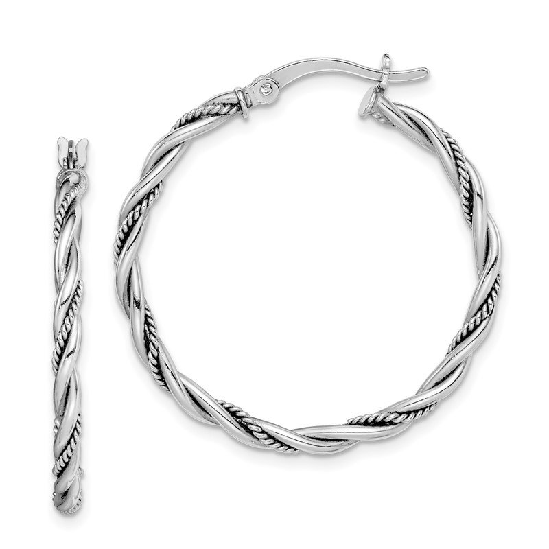 Sterling Silver Rhodium-plated Antiqued 2x30mm Twisted Hoop Earrings