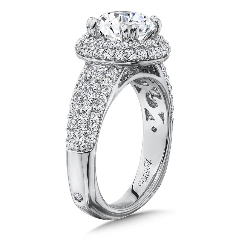 Caro74 Double Halo Engagement Ring with Side Stones in 14K White Gold with Platinum Head (2ct. tw.)