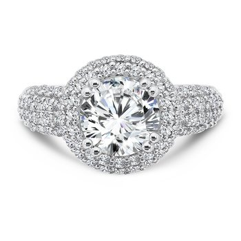 Double Halo Engagement Ring with Side Stones in 14K White Gold with Platinum Head (2ct. tw.)