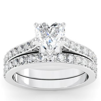 Pave Diamond Engagement Ring with Matching Wedding Band