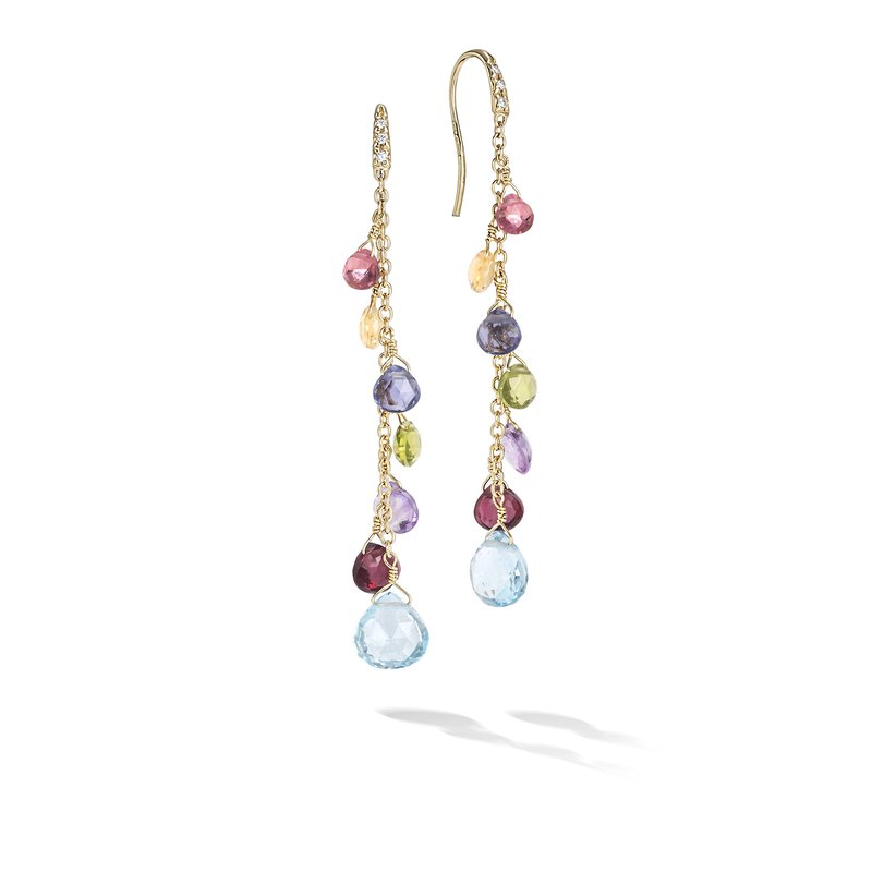 Marco Bicego Paradise Collection 18K Yellow Gold Diamond and Mixed Gemstone Long Drop Earrings