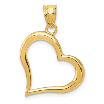 14K Polished Dangling Heart Pendant