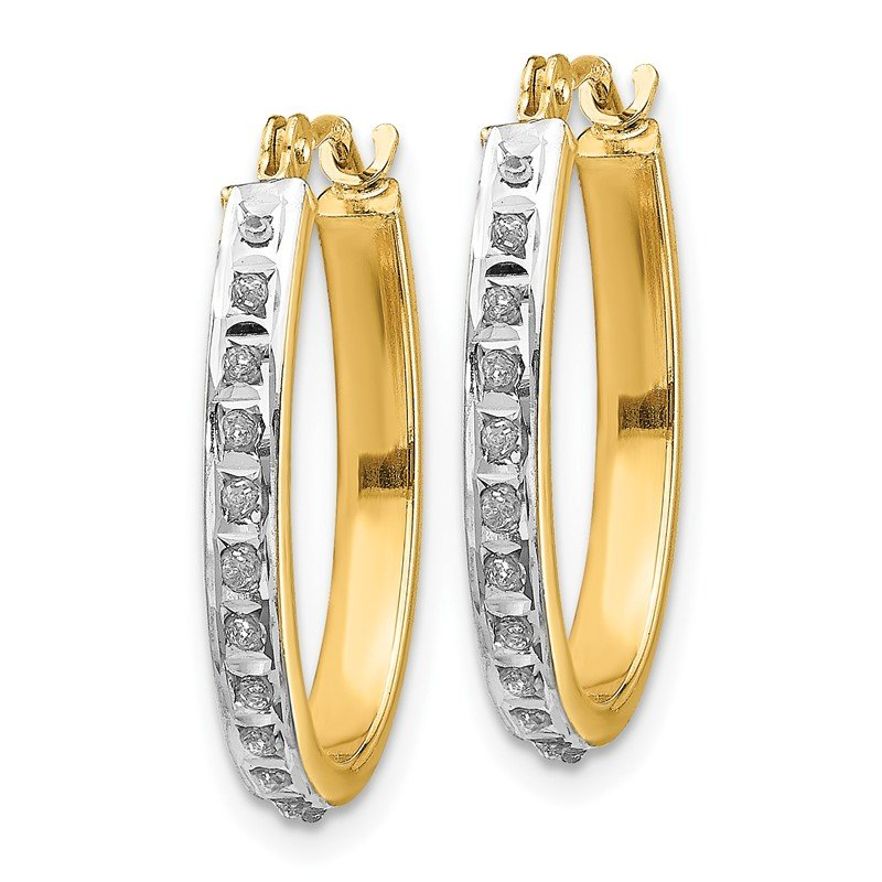 Quality Gold 14k Diamond Fascination Oval Hinged Hoop Earrings