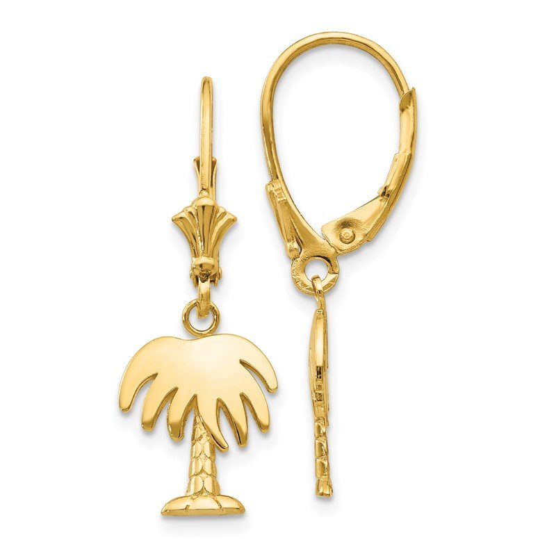 Quality Gold 14K Palm Tree Leverback Earrings