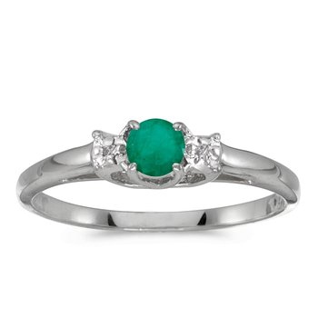 10k White Gold Round Emerald And Diamond Ring