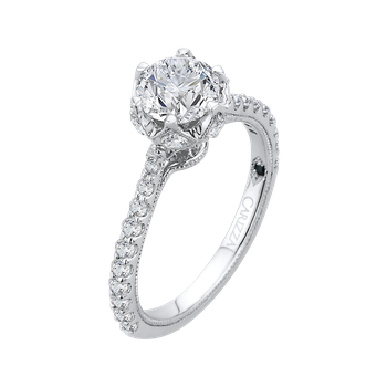14K White Gold Round Diamond Cathedral Style Engagement Ring (Semi-Mount)
