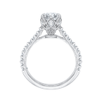 Carizza 14K White Gold Round Diamond Cathedral Style Engagement Ring (Semi-Mount)