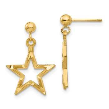 14k Polished & Diamond-Cut Star Dangle Post Earrings