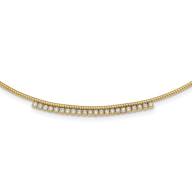 Quality Gold Sterling Silver Gold-tone CZ w/2in Ext Round Omega Necklace