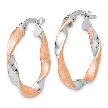 Leslie's 10K White Gold Rose-tone Twisted Hoop Earrings