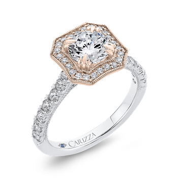 14K Two-Tone Gold Round Diamond Halo Engagement Ring (Semi-Mount)