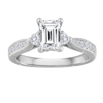 14KW 1CTW EME CTR HAND ENGRAVED BRIDAL RING
