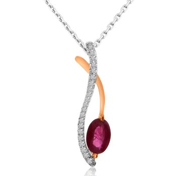 14k White and Rose Gold Ruby and Diamond Pendant