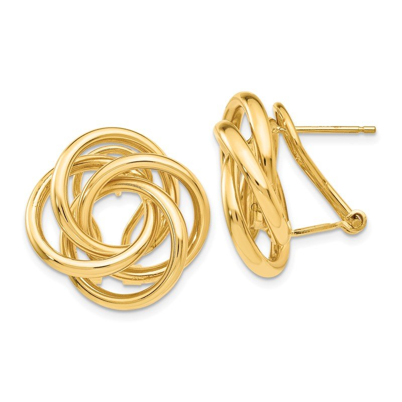 Quality Gold 14k Love Knot Tube Earrings