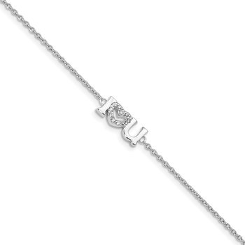 Sterling Silver Rhodium Plated CZ I Heart U Bracelet