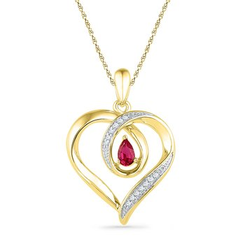 10kt Yellow Gold Womens Pear Lab-Created Ruby Diamond Heart Pendant 1/20 Cttw