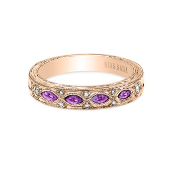 Amethyst Engraved Diamond Wedding Band