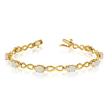 10K Yellow Gold Oval Opal and Diamond Bracelet