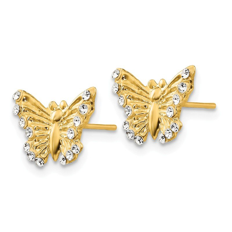 Quality Gold 14k Madi K CZ Butterfly Post Earrings