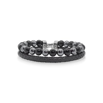 Black Leather Bracelet with Black Onyx & Hematite