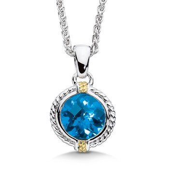Sterling silver, 18k gold and london blue topaz pendant