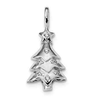 Sterling Silver Rhodium-plated CZ Christmas Tree Pendant