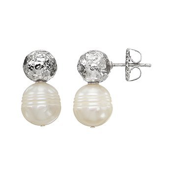 Honora Sterling Silver 10.5-11mm Ringed White Freshwater Cultured Pearl Rhodium Bead Topper Earrings