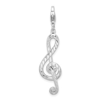 Sterling Silver Amore La Vita Rhodium-pl Diamond-cut Treble Clef Charm