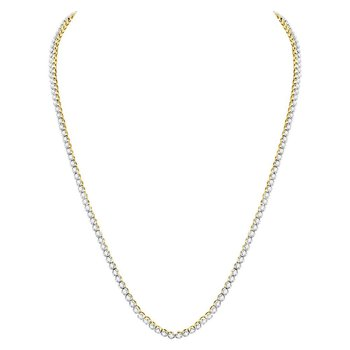 "10kt Yellow Gold Mens Round Diamond Solitaire Linked 26"" Necklace 11-3/8 Cttw"