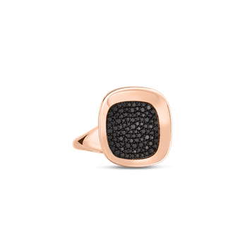 18KT GOLD SMALL RING WITH BLACK DIAMONDS
