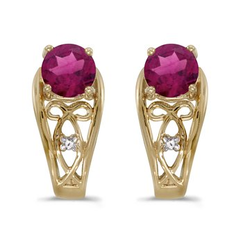 10k Yellow Gold Round Rhodolite Garnet And Diamond Earrings