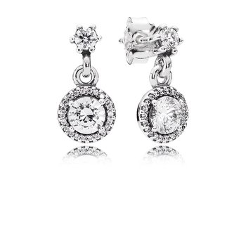Classic Elegance Drop Earrings, Clear CZ