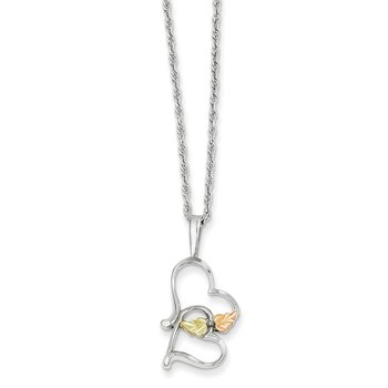 Sterling Silver & 12K Double Heart Necklace