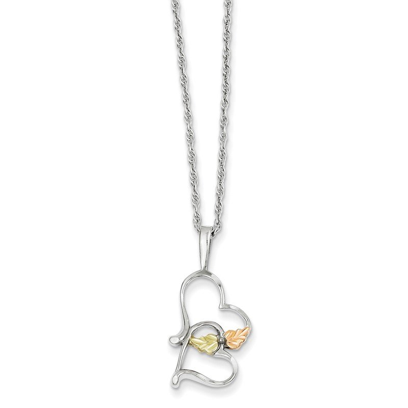 Quality Gold Sterling Silver & 12K Double Heart Necklace