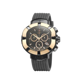 ALOR Elite Sub Stainless Steel Rose Bezel with Rose Markers and Black Rubber Strap Watch