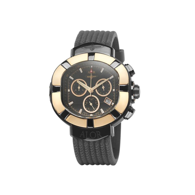 ALOR ALOR Elite Sub Stainless Steel Rose Bezel with Rose Markers and Black Rubber Strap Watch
