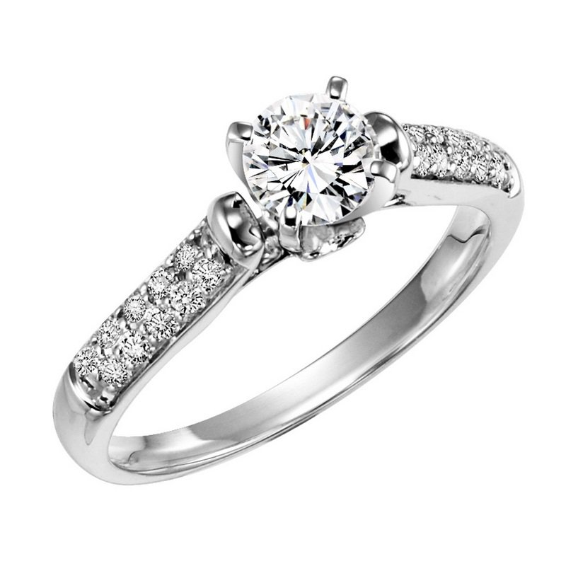 Bridal Bells 14K Diamond Engagement Ring 1/5 ctw with 1/2 ct Center