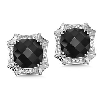Sterling Silver Onyx and Diamond Post  Earrings