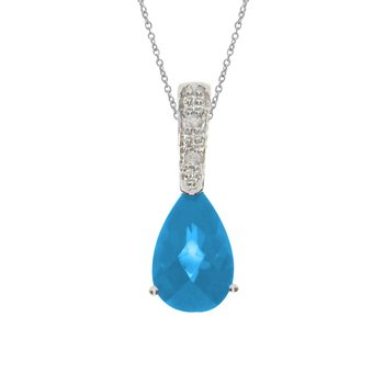 14K White Gold Pear Blue Topaz and Diamond Pendant