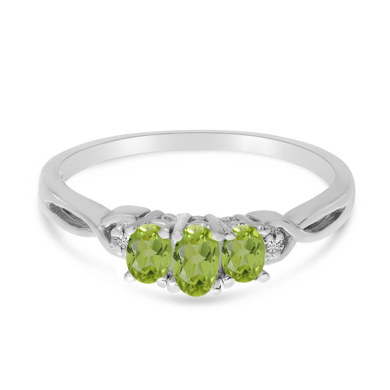 Color Merchants 14k White Gold Oval Peridot And Diamond Three Stone Ring